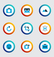 picture icons colored set with filter add a photo vector image