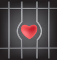 red heart sign will escape from prison symbol vector image vector image