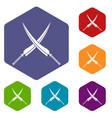 samurai swords icons set hexagon vector image vector image