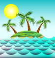 Sea and island with palm trees vector image vector image