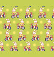 seamless pattern with funny cartoon bunnies vector image vector image