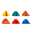 set bright colourful tourist tent icon isolated vector image vector image