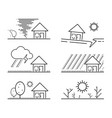 set of black isolated natural disaster symbol vector image