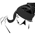 side view woman face in black and white color mode vector image vector image