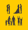 silhouette of a happy family vector image vector image