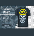 t-shirt mock-up template with skull and crown on vector image vector image