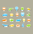 transportation icons on stickers vector image vector image