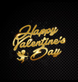 valentine day title text golden frame isolated on vector image vector image
