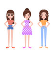 woman with different hairstyles and apparel vector image
