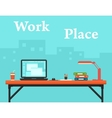 work place on business office and city silhouette vector image