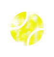 yellow halftone tennis ball vector image vector image