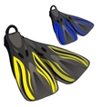 Yellow and blue fins Element of diving suit vector image