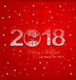 2018 new year with snow effect on red background vector image