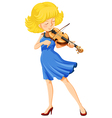 A pretty girl playing the violin vector image