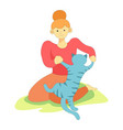 animal pet playing with owner woman on grass vector image vector image
