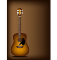 Beautiful Acoustic Guitar on Dark Brown Background vector image vector image