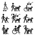 blind man icon set simple style vector image vector image