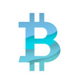 blue bitcoin sign vector image vector image