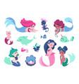 cartoon mermaid cute faire tale character vector image vector image