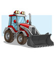 cartoon wheel front loader bulldozer with shovel vector image