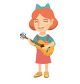 caucasian girl singing and playing acoustic guitar vector image