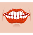 Cheerful smile Red lips and white teeth Open mouth vector image vector image