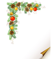 Christmas fir tree with cones vector | Price: 1 Credit (USD $1)