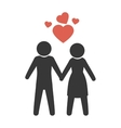 couple just married with heart vector image vector image
