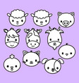 cute animal stickers vector image