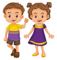 cute boy and girl in yellow and purple costume vector image vector image