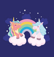 cute unicorns rainbow vector image vector image