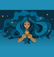 dreaming girl with star paper cut vector image vector image