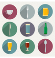 flat icons web and mobile applications utensil vector image