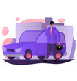 flat man smiling with car city background vector image