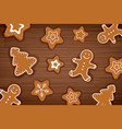 gingerbread man on wooden table background merry vector image