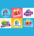 giveaway winner poster gift offer banner vector image