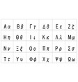 greek alphabet - uppercase and lowercase letters vector image