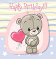 greeting card teddy bear girl with balloon vector image vector image