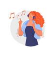 headphones music happy young woman listening vector image vector image