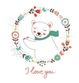 I love you card with polar bear vector image vector image