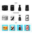 isolated object of can and food icon set of can vector image