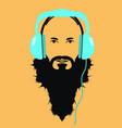 man dj with blue headphones icon vector image vector image