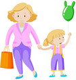 Mother and daughter holding hand vector image