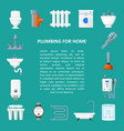 plumbing banner in flat style vector image vector image