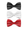 realistic black white and red tie bow tie vector image vector image