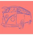 retro bus outline vector image vector image