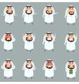set cartoon muslim icons vector image vector image