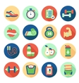 set fitness flat icons vector image vector image