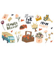 set icons flowers delivery theme beautiful vector image