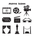 set movie icons vector image vector image